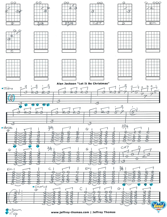 Alan Jackson Let It Be Christmas free country guitar tab