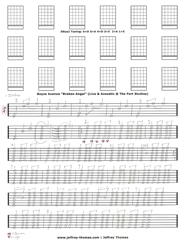 Boyce Avenue Broken Angel Guitar Tab