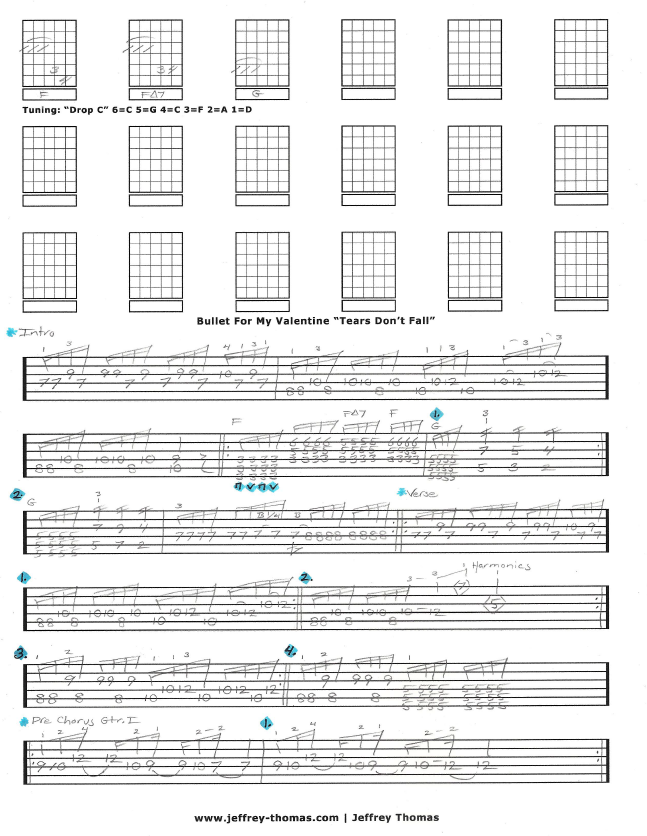 Bullet For My Valentine Tears Don\'t Fall Free Guitar Tab by Jeffrey ...