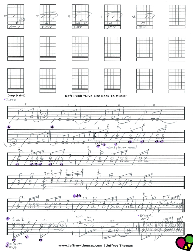 Free Daft Punk Guitar Tab For Give Life Back To Music