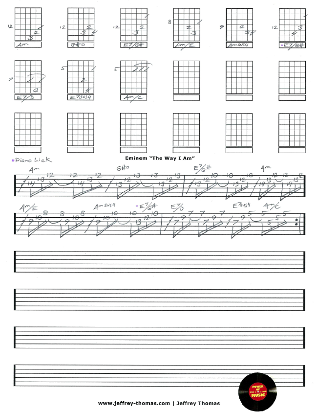 Free Eminem Guitar Tab For The Way I Am