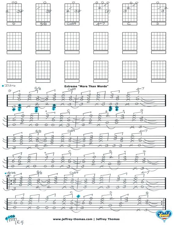 Extreme - More Than Words Free Guitar Tab by Jeffrey Thomas