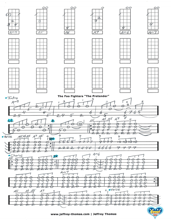 Foo Fighters The Pretender Free Ukulele Tab
