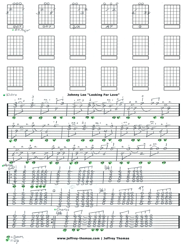 Johnny Lee Looking For Love free country guitar tab