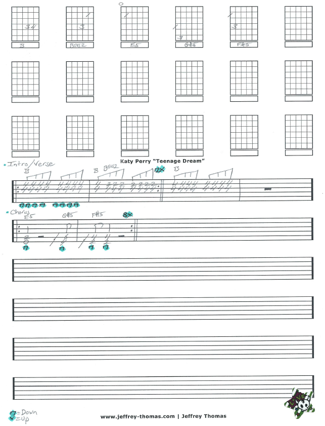 Katy Perry Teenage Dream Free Guitar Tab by Jeffrey Thomas