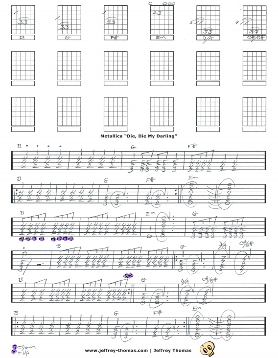 Free online guitar tab for Metallica Die Die My Darling