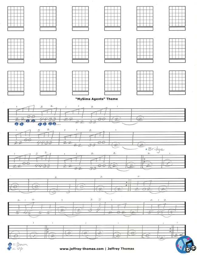 MySims Agents Free Guitar Tab