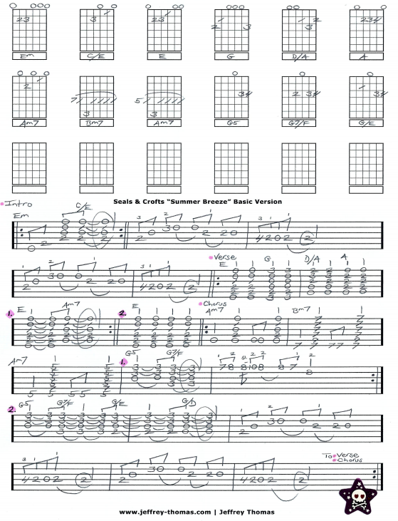 Seals and Crofts Free Guitar Tab For Summer Breeze