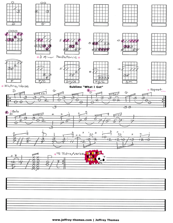 Sublime What I Got Free Guitar Tab