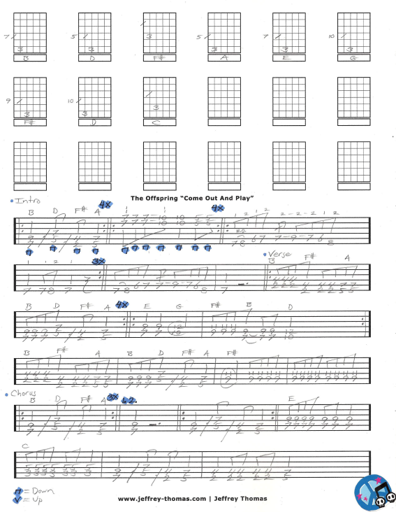 Free guitar tab and Skype guitar lesson for Come Out And Play by The Offspring