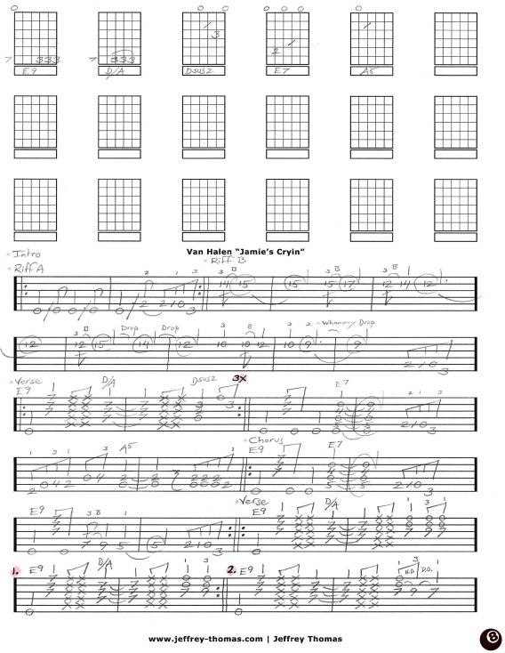 Free Van Halen guitar tab and Skype guitar lesson