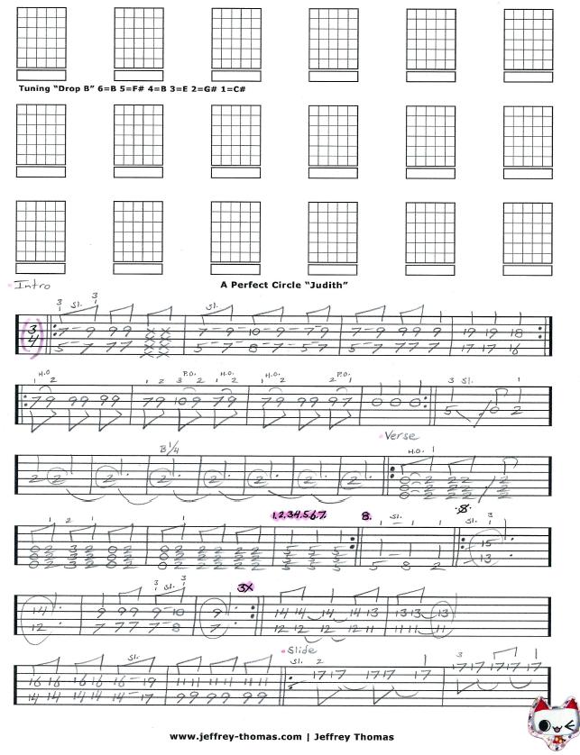 A Perfect Circle u0026quot;Judithu0026quot; Guitar Tab by Jeffrey Thomas