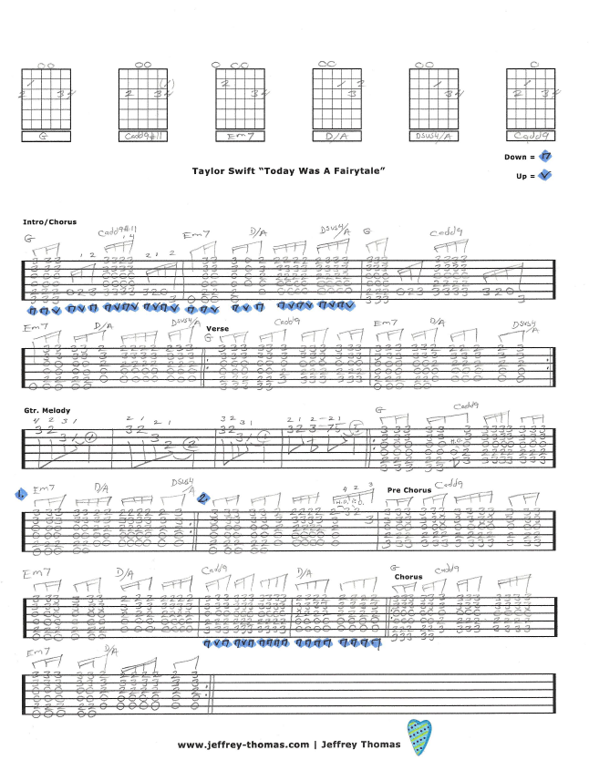 Taylor Swift Today Was A Fairytale Free Guitar Tab By Jeffrey Thomas