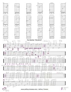 The Beatles Blackbird Free Ukulele Tab by Jeffrey Thomas