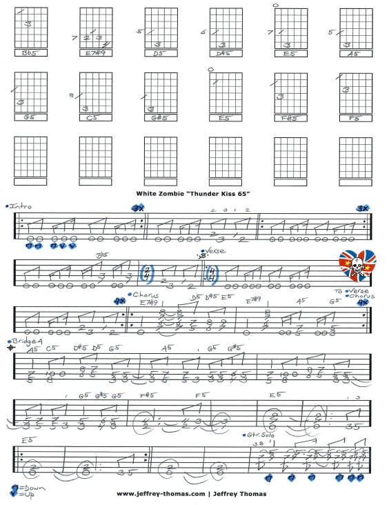 White Zombie Thunder Kiss 65 Free Guitar Tab by Jeffrey Thomas