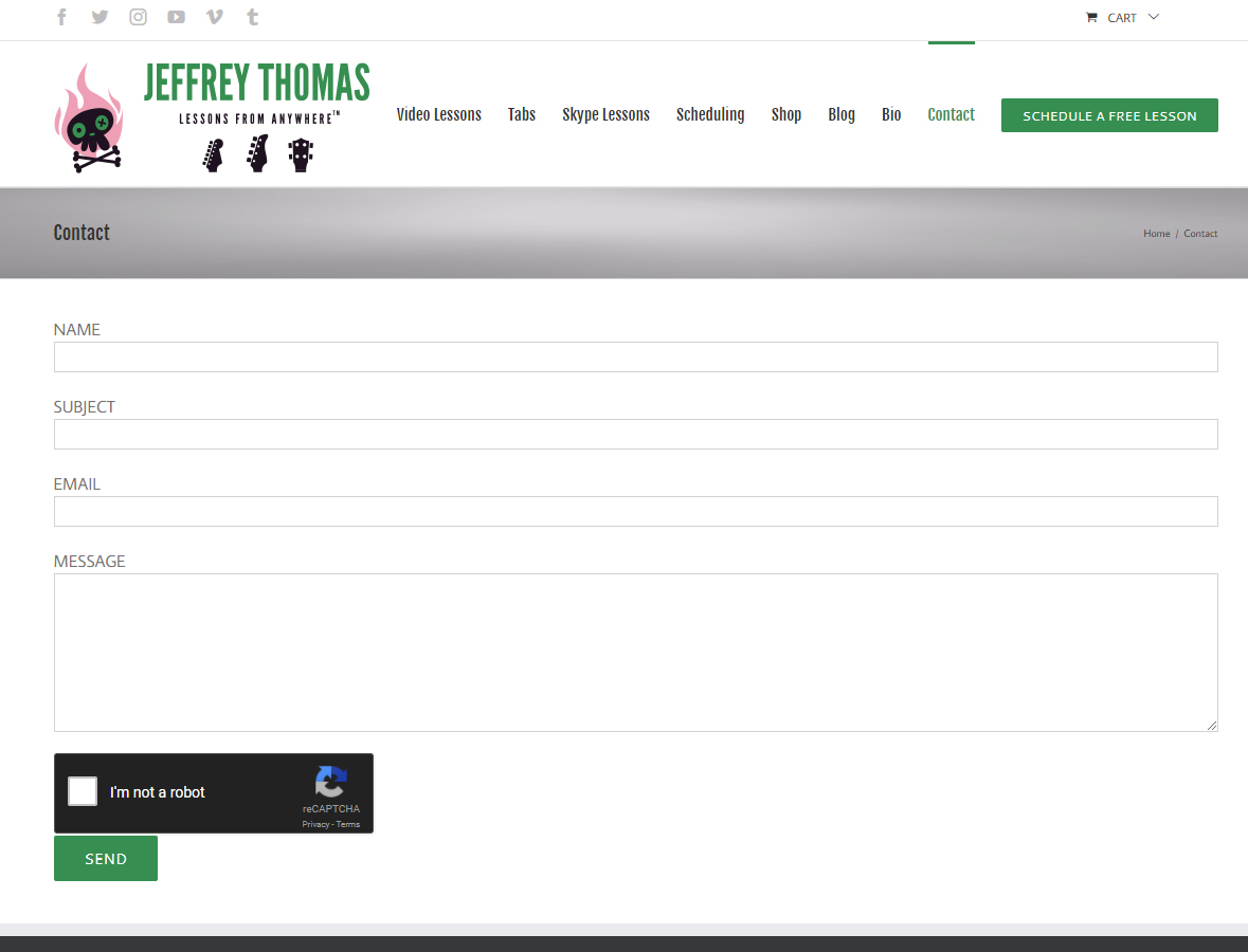 Contact Page for Jeffrey Thomas