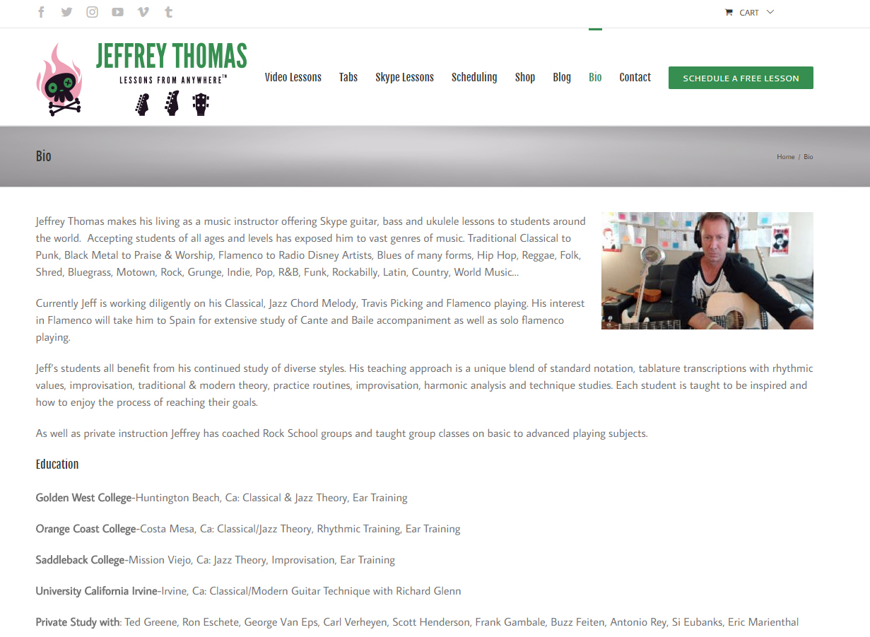Bio page for Jeffrey Thomas Skype guitar bass ukulele lessons