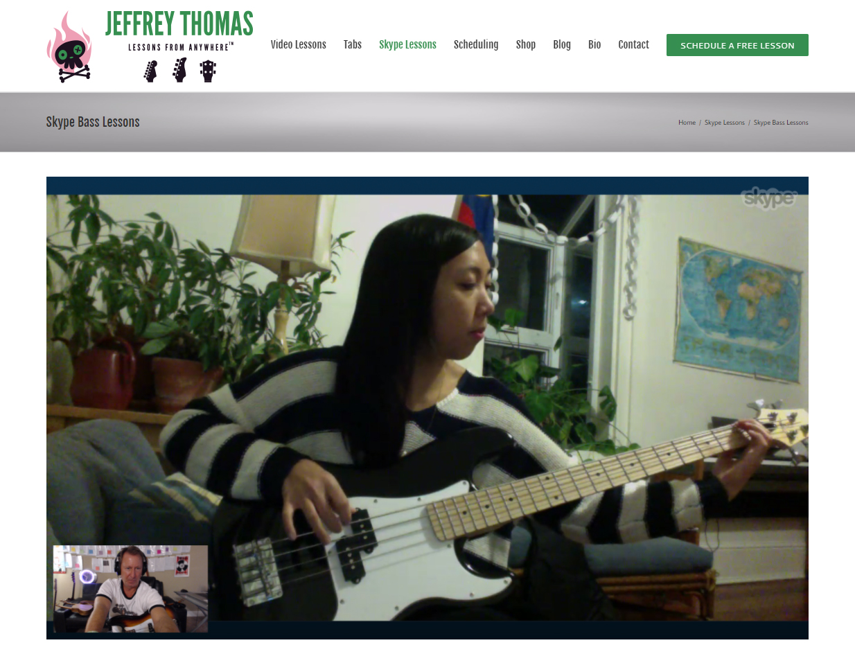 Skype bass lessons by Jeffrey Thomas