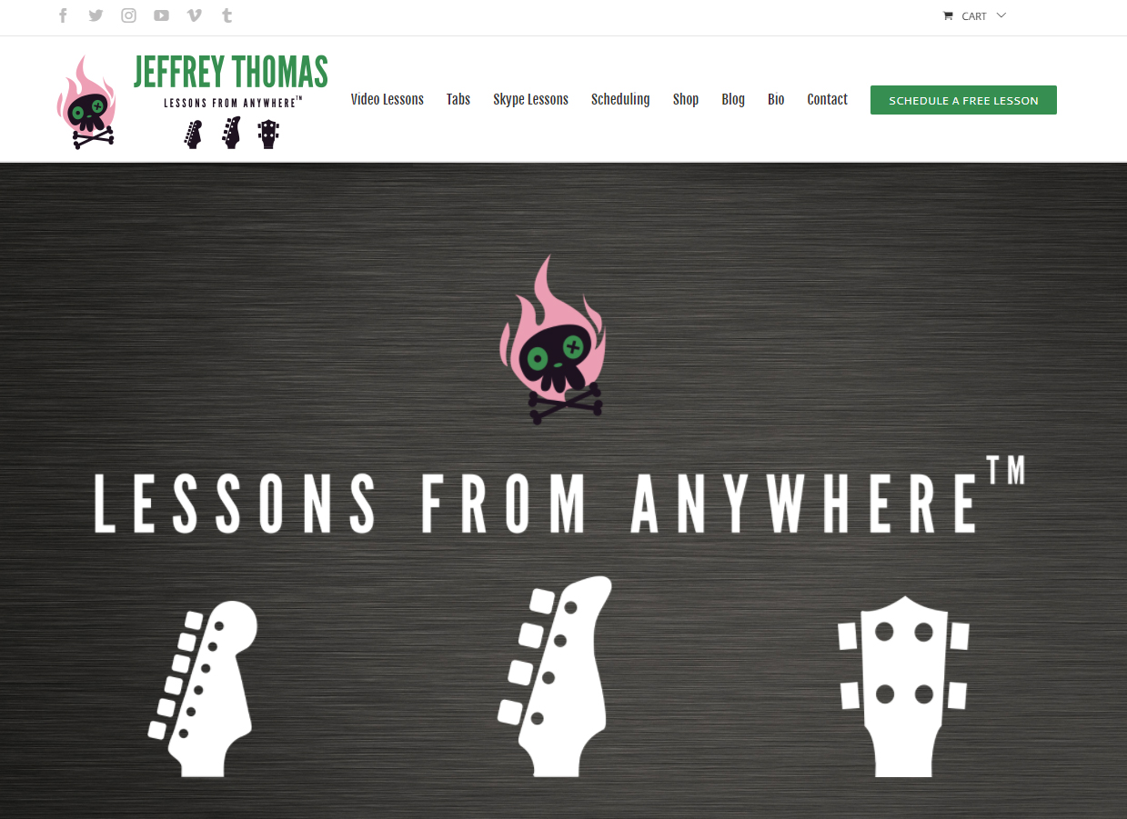 Home page for Skype guitar, bass and ukulele lessons by Jeffrey Thomas
