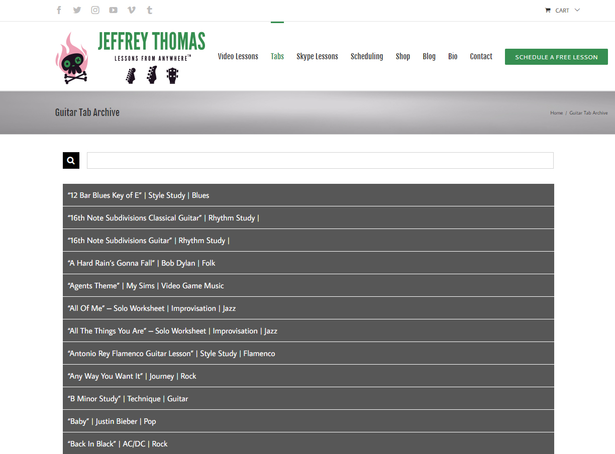 Guitar Tabs Chords Songs And Lessons By Jeffrey Thomas