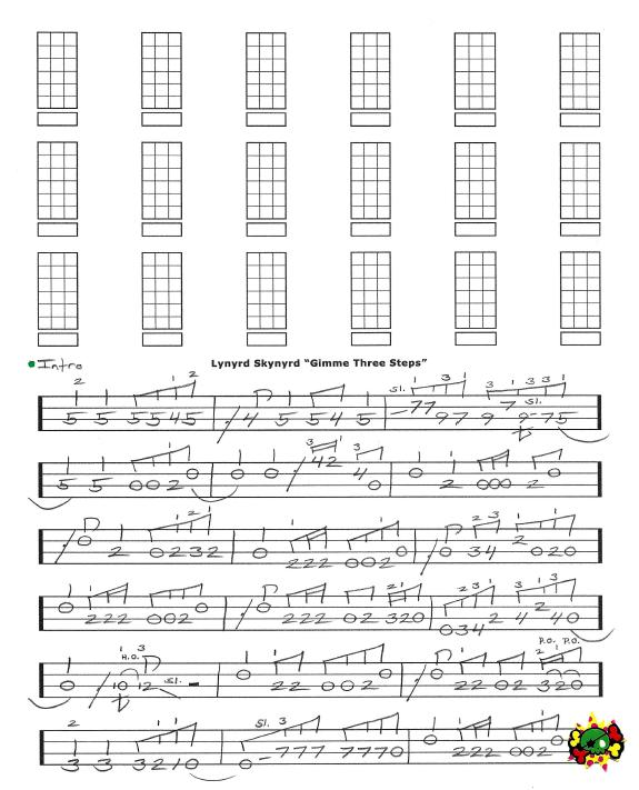 Lynyrd Skynyrd Gimme Three Steps Free Bass Tab