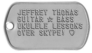 Free dog tags for guitar, bass and ukulele lessons